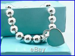Return To Tiffany & Co Silver Bead ball Bracelet Enamel Med. Heart Charm 7.25in