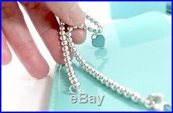 Return To Tiffany & Co Silver Blue Enamel Mini Heart Charm Bead Bracelet 7 19A