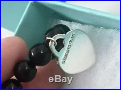 Return To Tiffany & Co Silver Heart Charm 8mm Onyx Bead 8 in. Bracelet 1888B