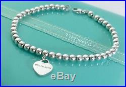 Return To Tiffany & Co Silver Heart Charm Mini Bead Ball Bracelet 6.75in 191017A