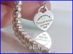 Return To Tiffany & Co. Silver Heart Charm Mini Bead Ball Bracelet 7.5in 190903A