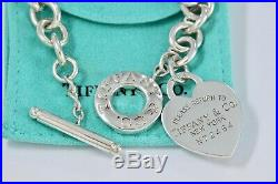 Return To Tiffany & Co Silver XL Large ID N72464 Heart Charm Toggle 8 Bracelet