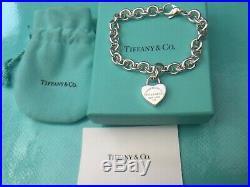Return To Tiffany Heart Spring Padlock Charm 19cm Bracelet Sterling Silver