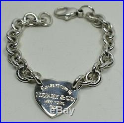 Return To Tiffany Heart Tag Charm Link Bracelet Sterling Silver Authentic