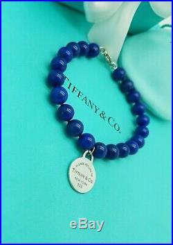 Return to Tiffany & Co. 8mm Lapis Lazuli Round Silver Charm Bead 7.75 Bracelet