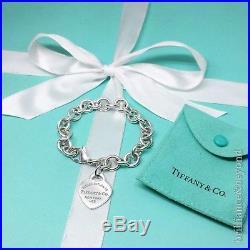 Return to Tiffany & Co Blue Enamel Heart Tag Charm Bracelet Sterling Silver RARE