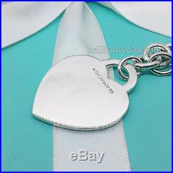 Return to Tiffany & Co. Extra Large XL Heart Tag Charm Bracelet 925 Silver RARE