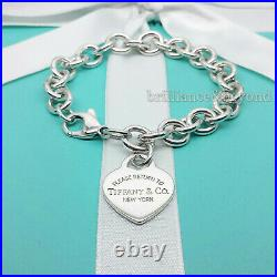 Return to Tiffany & Co. Heart Tag Bracelet Charm 925 Sterling Silver Authentic