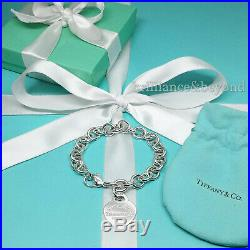 Return to Tiffany & Co Heart Tag Bracelet Charm Chain 925 Silver Authentic