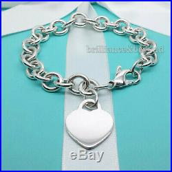 Return to Tiffany & Co Heart Tag Bracelet Charm Chain 925 Silver Authentic 7.75