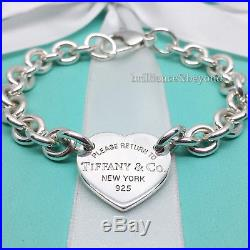 Return to Tiffany & Co. Heart Tag Charm Bracelet 925 Sterling Silver Authentic