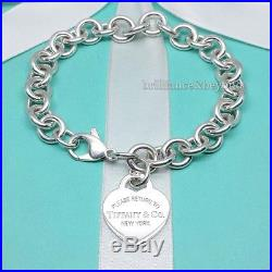 Return to Tiffany & Co. Heart Tag Charm Bracelet 925 Sterling Silver LARGE 8.5
