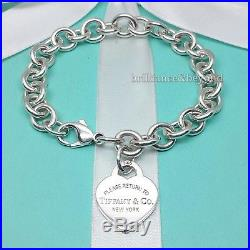 Return to Tiffany & Co. Heart Tag Charm Bracelet 925 Sterling Silver Pouch 8.25
