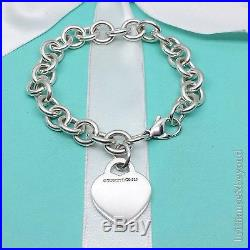 Return to Tiffany & Co Heart Tag Charm Bracelet Sterling Silver Authentic 7.5in