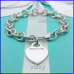 Return to Tiffany & Co. Heart Tag Charm Chain Bracelet 925 Silver NEW VERSION
