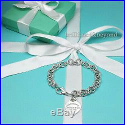 Return to Tiffany & Co. Heart Tag Charm Chain Bracelet 925 Sterling Silver 8.5