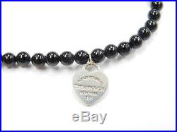 Return to Tiffany & Co Heart Tag Charm Onyx Bead Bracelet 7 1/8 Sterling Silver