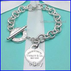775cc6b10 Return to Tiffany & Co Heart Tag Toggle Charm Bracelet 925 Silver Authentic