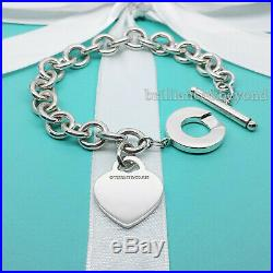 Return to Tiffany & Co. Heart Tag Toggle Charm Bracelet 925 Silver Authentic