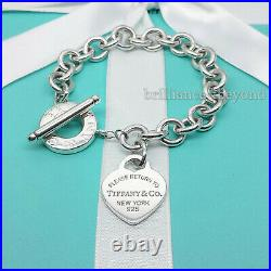 Return to Tiffany & Co. Heart Tag Toggle Charm Bracelet 925 Silver Box + Pouch