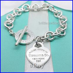 Return to Tiffany & Co. Heart Tag Toggle Clasp Charm Bracelet Silver NEW VERSION