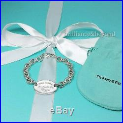 d7cd8ab6b Return to Tiffany & Co Oval Tag Bracelet Charm Chain Sterling Silver NEW  VERSION