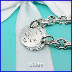 Return to Tiffany & Co. Oval Tag Charm Chain Bracelet Sterling Silver Authentic