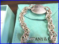 Return to Tiffany & Co Oval Tag Charm Chain Bracelet Sterling Silver Authentic