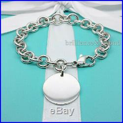 Return to Tiffany & Co. Round Tag Bracelet Charm 925 Sterling Silver 8.25 XL
