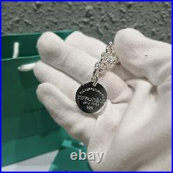 Return to Tiffany & Co. Round Tag Charm 925 Sterling Silver 7.75 Bracelet