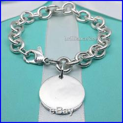 Return to Tiffany & Co. Round Tag Charm Bracelet 925 Sterling Silver Authentic