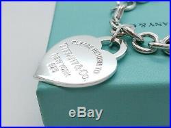Return to Tiffany & Co Silver 925 Extra Large Heart Charm 7.5 Bracelet
