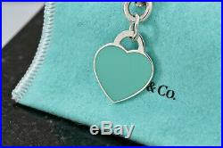 Return to Tiffany & Co. Silver Blue Enamel Heart Charm 7.5 Bracelet withPackaging