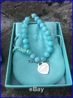 Return to Tiffany & Co Sterling Silver Heart Charm Amazonite Bead Bracelet 7.5