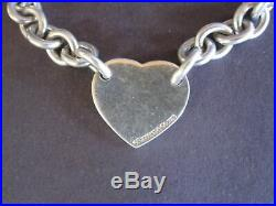 Return to Tiffany Co Sterling Silver Heart Tag Charm Bracelet 7 1/2 Box pouch
