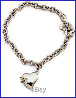 SCOTT KAY 7.5 16g Sterling Silver Heart 14k Gold Rings Charm Bracelet Women NWT