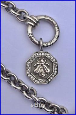 SLANE & SLANE Sterling Silver Bee & Diamond Charm Bracelet, 24.8 g