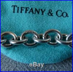 STAMPED Tiffany & Co 925 SOLID SILVER 7.25 CHUNKY CHAIN CHARM BRACELET 29g Bag
