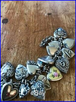 STERLING SILVER Antique Handcrafted 26 Mixed Puffy Heart Charm Bracelet