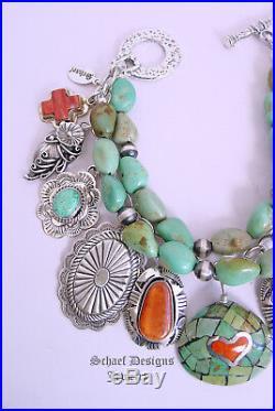 Schaef Designs Turquoise Sterling Silver Squash Blossom Charm Bracelet Necklace