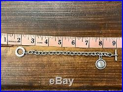 Signed Lagos Sterling Silver Link Chain Bracelet with charm link toggle closure