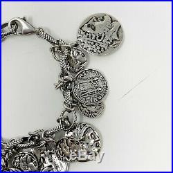 Silpada B1624 Sterling Silver Roman Coin Charm Bracelet. 925