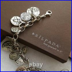 Silpada Oxidized Sterling Roman Coin Cha Cha Charm Bracelet B1624 RARE