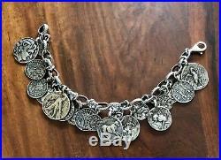 Silpada Sterling Silver Coin Charm Bracelet, Retired Design