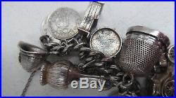 Sterling Silver 30 Charm Vintage Bracelet Moving Part Charms Heart Locket