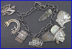 Sterling Silver Charm Bracelet Navajo Indian Artisan Ray Tracey Knifewing