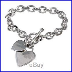 Sterling Silver Double Heart Love Charm Oval Link Bracelet 7.5