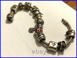 Sterling Silver Pandora Bracelet with RARE Pandora Charms
