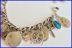 Sterling Silver Religious Medals Enamel Jesus Mary Crosses Hearts Charm Bracelet