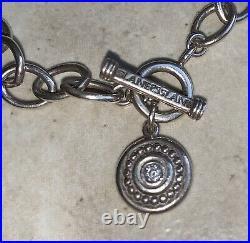 Sterling Silver SLANE & SLANE Link Chain Bracelet Toggle 7 withDiamond Charm